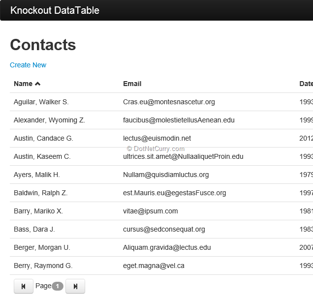 Sorting Paging a Grid using Knockout JS and ASP NET Web API