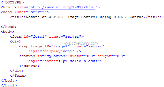Rotate an ASP NET Image Control using HTML 5 Canvas