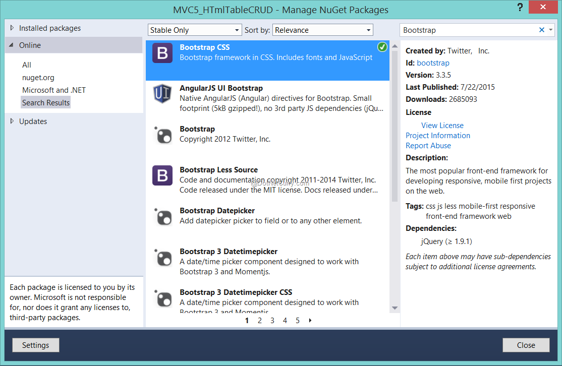 bootstrap-nuget