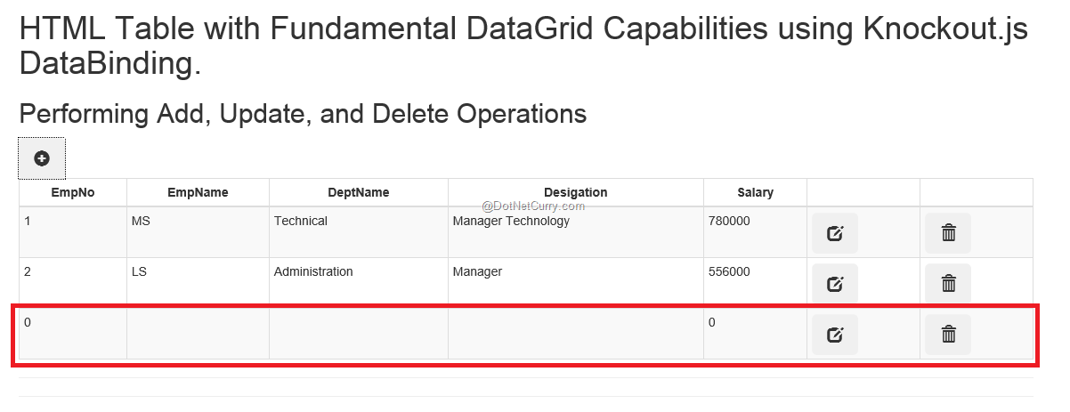 HTML Data Grid with CRUD Operations in ASP NET MVC using
