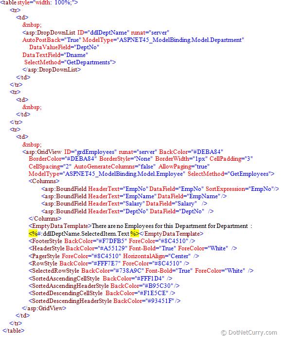 ASP.NET 4.5: Filtering Using Model Binding In ASP.NET Web