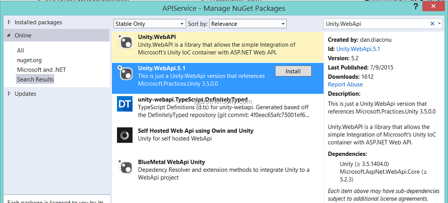 unity-webapi-nuget