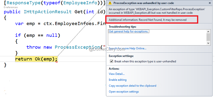 Custom Exception in ASP NET Web API 2 with Custom