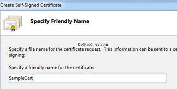 Self Signed Certificate Name