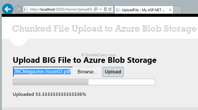 Uploading Big files to Azure Storage from ASP NET MVC | DotNetCurry