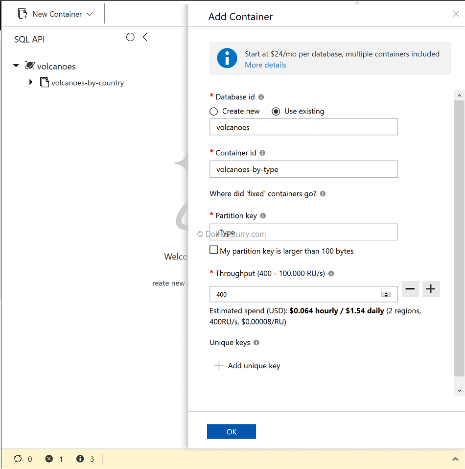 collections-and-database-using-azure-portal