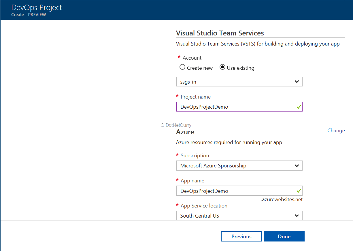 vsts-and-azure-subscription-details
