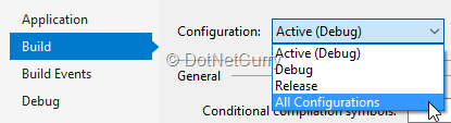 configuration-selection-on-build-tab