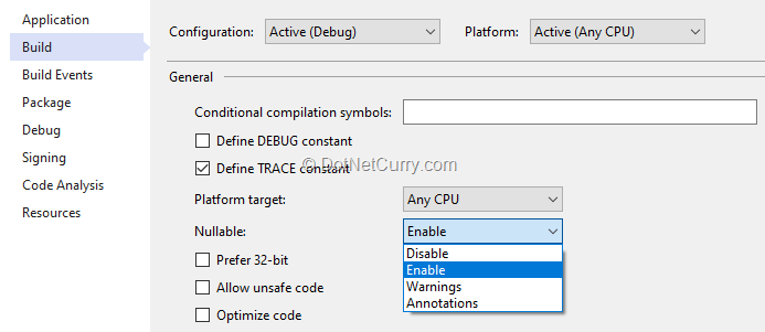 csharp-nullable-option-project-properties