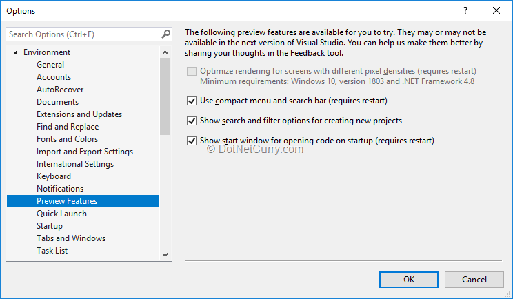 opt-out-experimental-features-vs2019