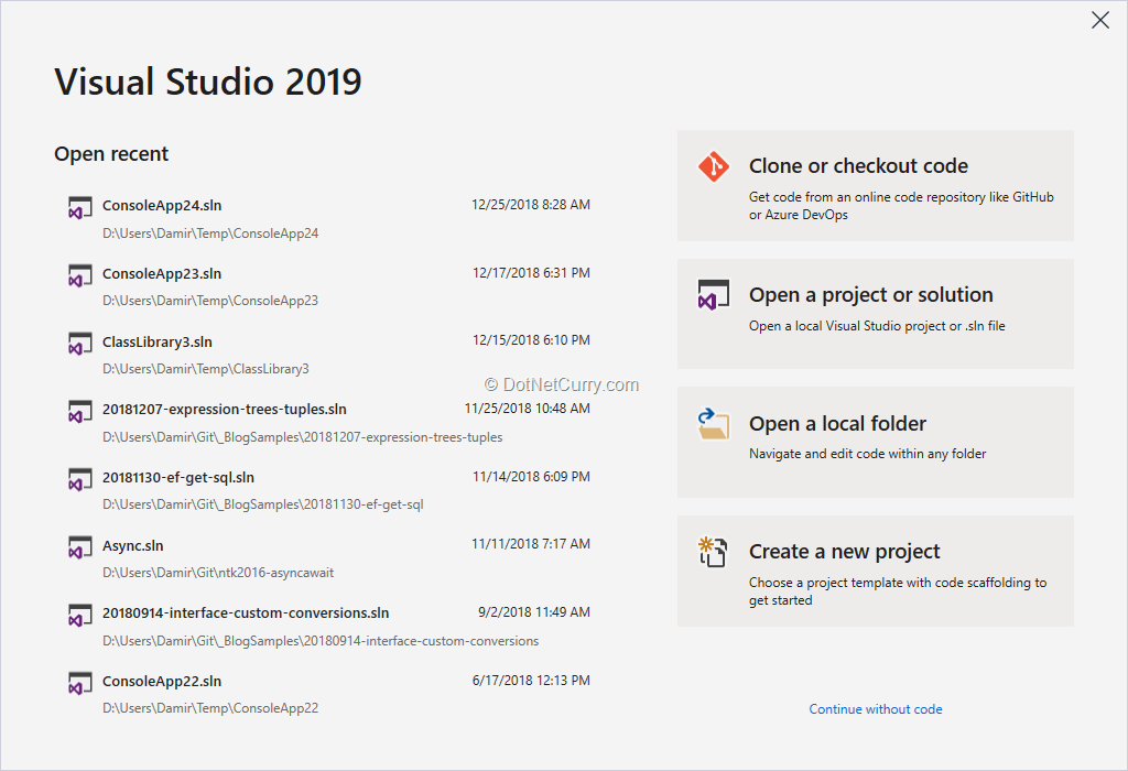 visual-studio-2019-start-window
