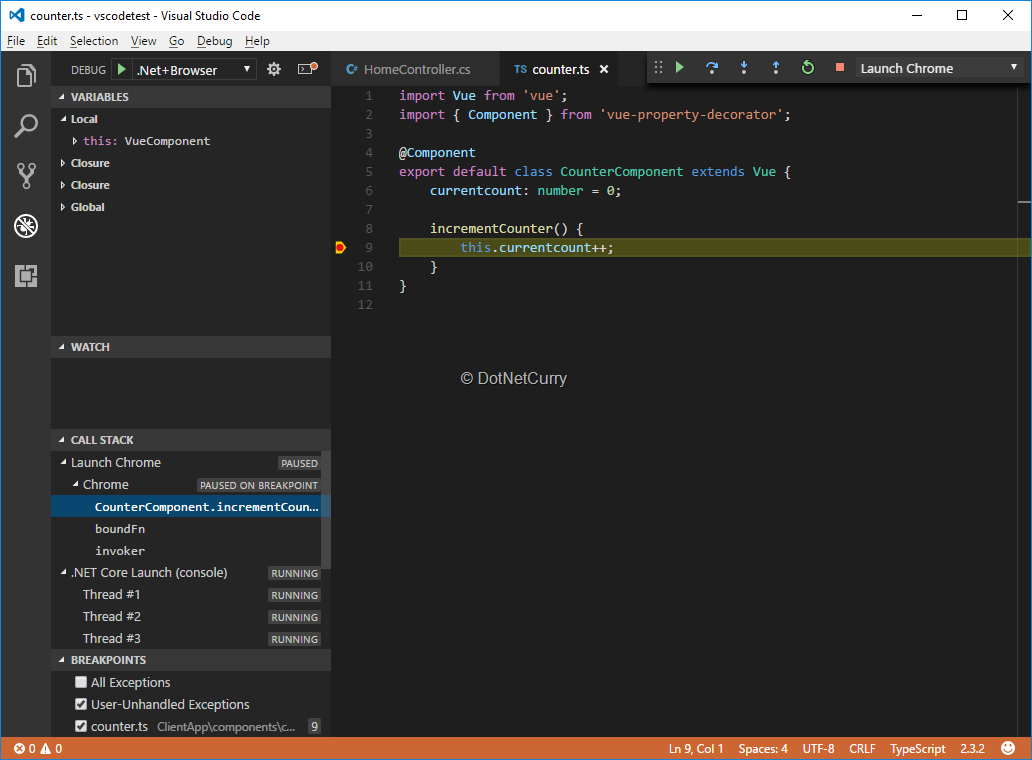 debugging-client side-vscode