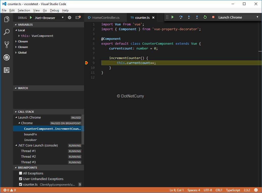 debugging-client side-vscode