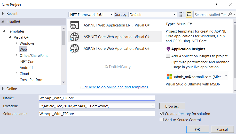 Using EF Core in ASP NET Core Web API for performing CRUD