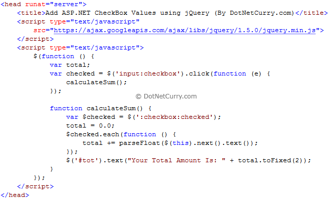 Calculate Sum of ASP NET CheckBox Values using jQuery | DotNetCurry