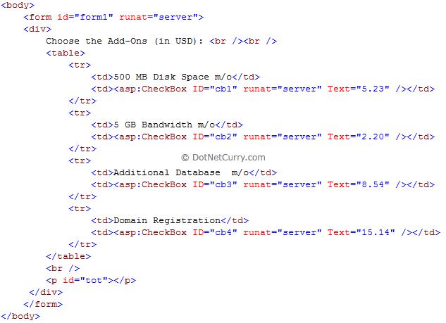 checkbox layout html
