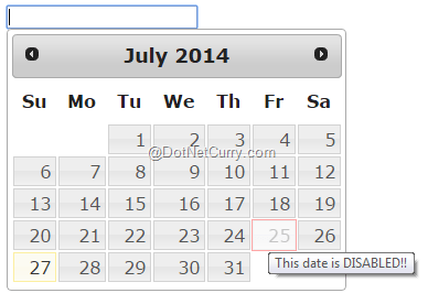 jQuery UI DatePicker - Tips and Tricks | DotNetCurry