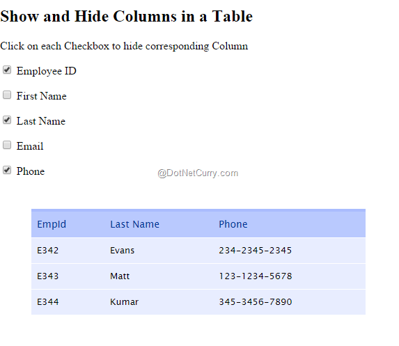 Using jquery to show and hide columns in a table using for Hide table th jquery