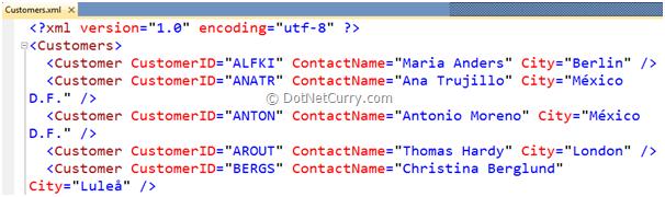 LINQ Customer XML