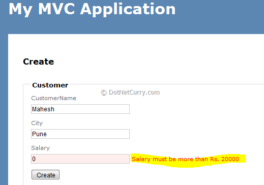 MVC Custom Validation