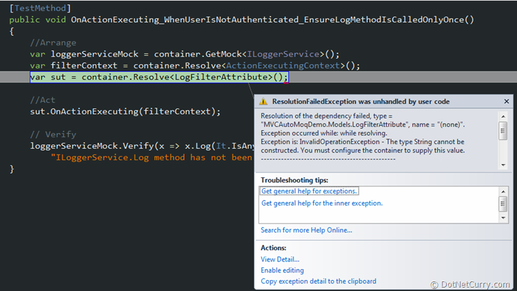 ASP NET MVC Unit Tests with UnityAutoMoq Container | DotNetCurry