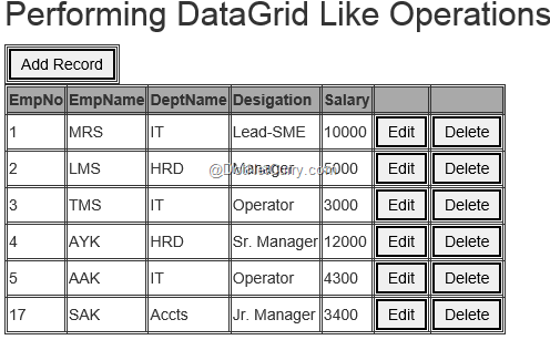 Building a DataGrid using HTML, jQuery, Knockout js and ASP