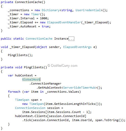 Server Side Timer in an ASP NET MVC application using SignalR