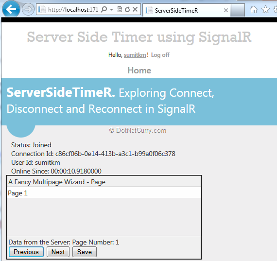 Server Side Timer in an ASP NET MVC application using SignalR