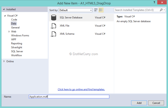 Drag Drop Elements in ASP NET MVC 5 using HTML 5, Web API