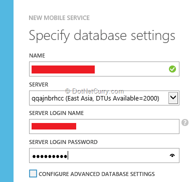 azure-db-settings