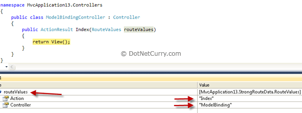 Mvc Controller router value debug