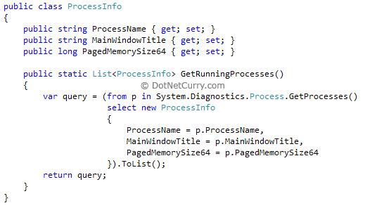 Mvc Process info model