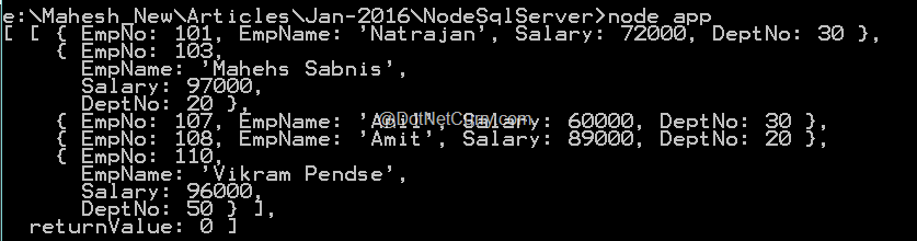Connect to SQL Server using Node js and mssql package