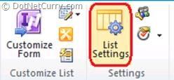 sharepoint lists settings