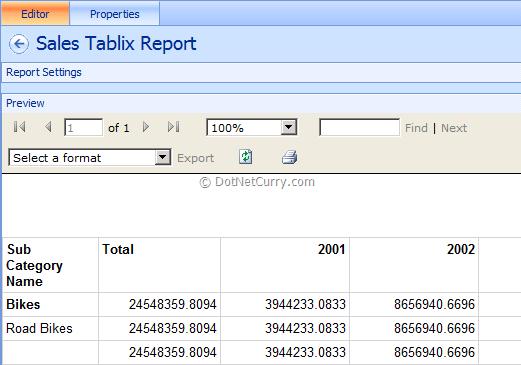 Tablix Report