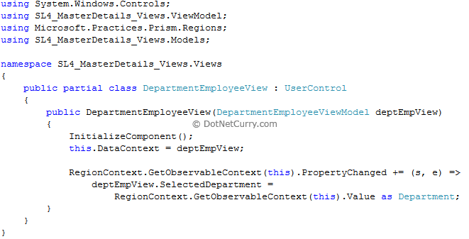 department employeeview xaml code