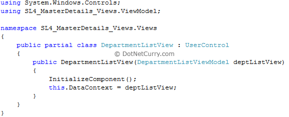 department listview xaml