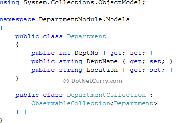 dept model classes