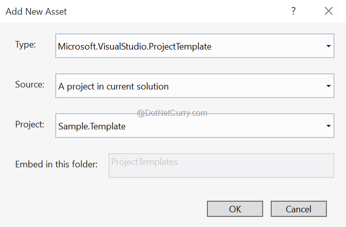 add new project template asset