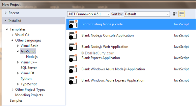 Building Node js Applications in Visual Studio (MEAN stack