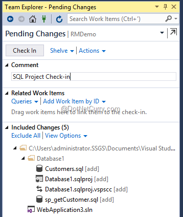 checkin-database-project-source-control-vsts