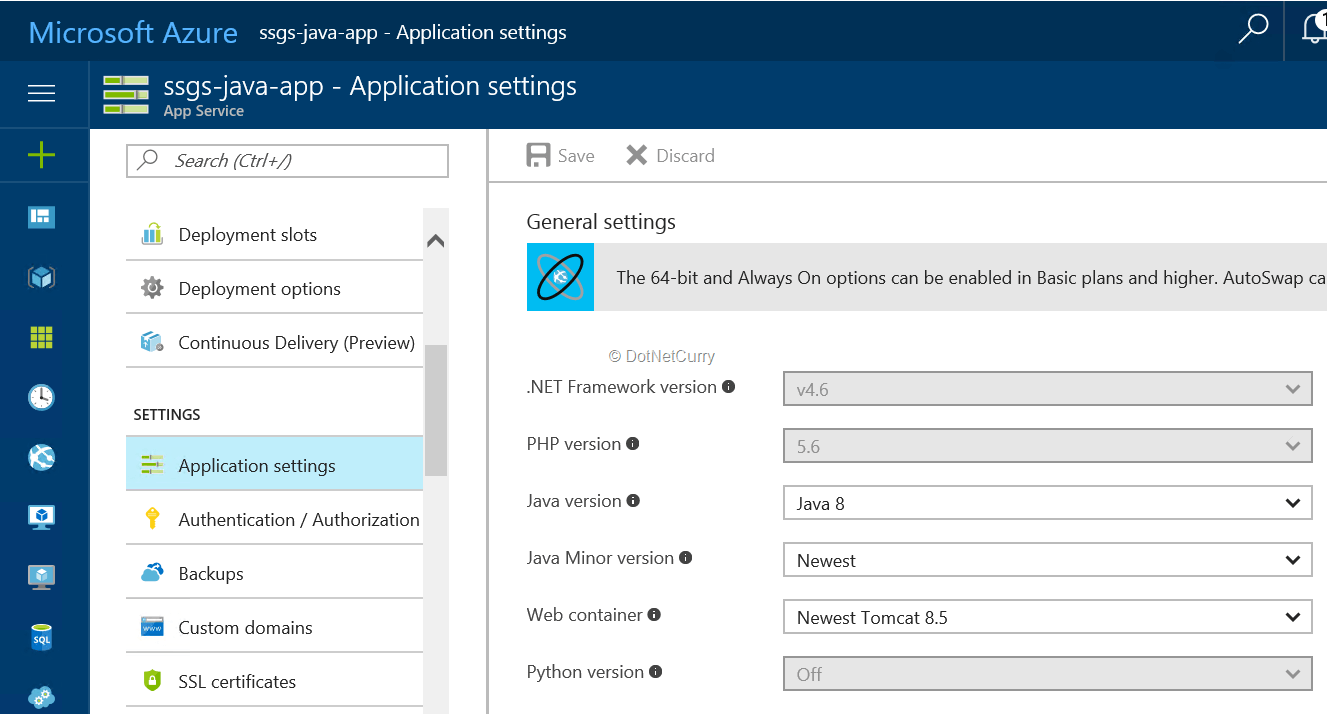 java-settings-for-web-app-in-azure