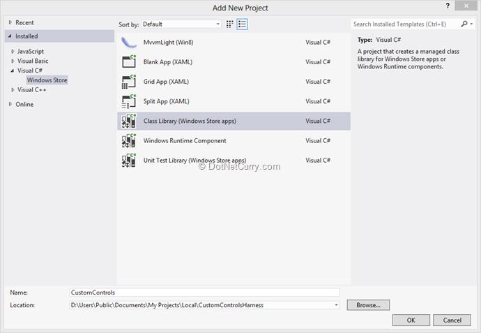 Windows Store App: Creating User Control using XAML and C#