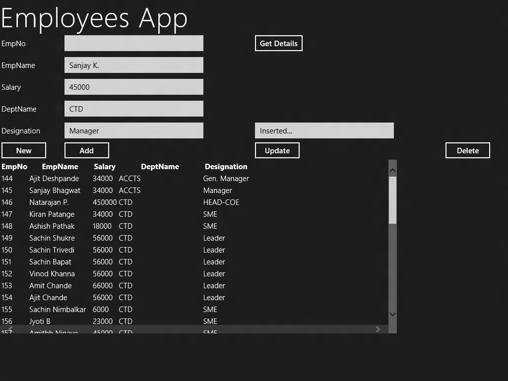 Web API Add Employees