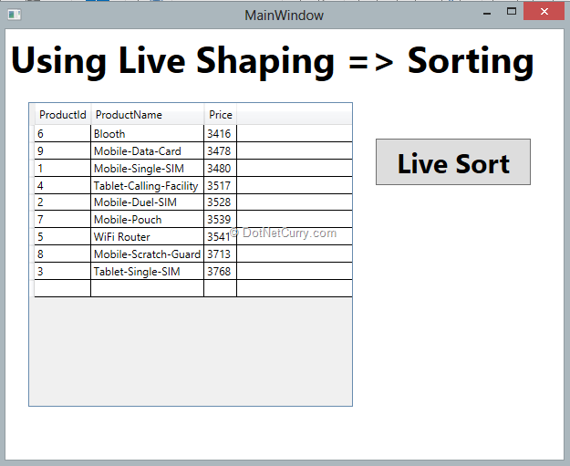 runtime-live-sorting