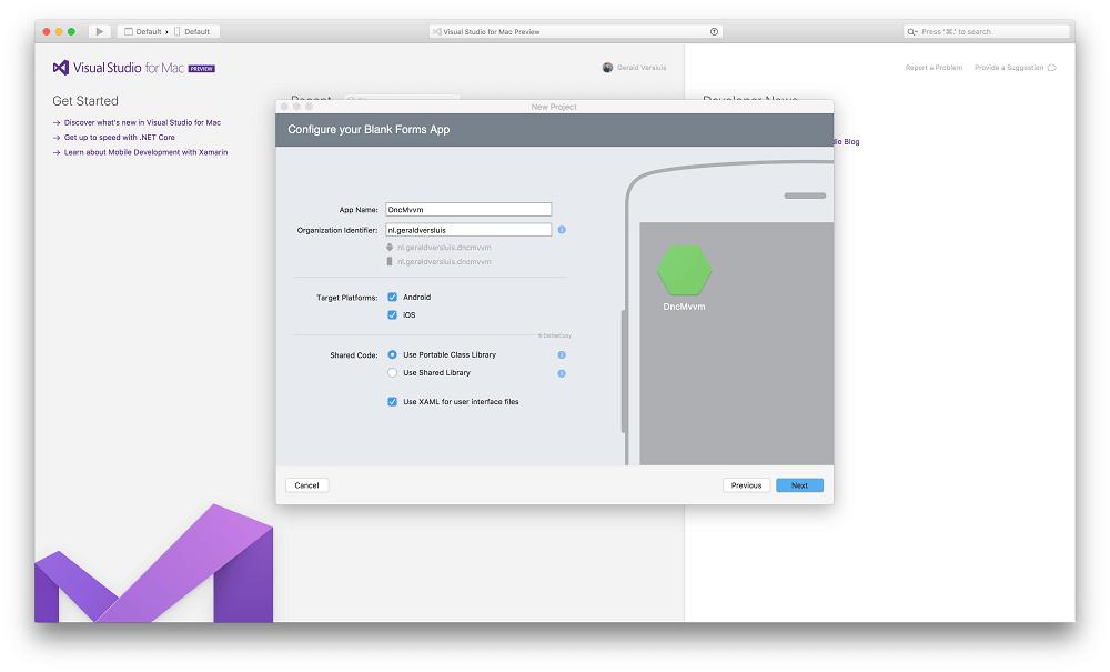 new-xamarin-app- screen